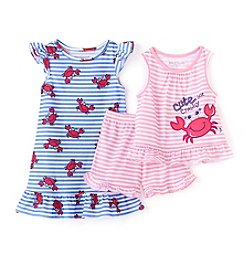 Komar Kids® Girls' 2T-4T 3-Piece Cute But Crabby Set