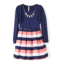 Beautees Girls' 7-16 Striped Scuba Dress