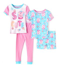 Komar Kids® Girls' 2T-4T 4-Piece Peppa Pig Sleepwear Set