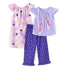Komar Kids® Girls' 2T-4T 3-Piece Ballerina Sleepwear Set