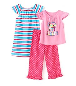 Komar Kids® Girls' 2T-4T 3-Piece Not Sleepy Sleepwear Set