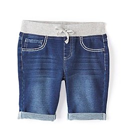 Miss Attitude Girls' 7-16 Knit Waist Denim Bermuda Shorts