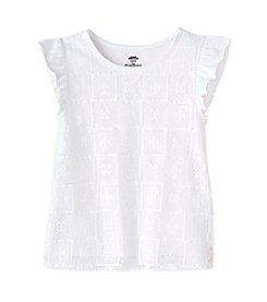 Mix & Match Girls' 2T-6X Tile Lace Flutter Sleeve Top