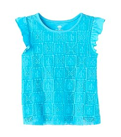 Mix & Match Girls' 2T-7 Tile Lace Flutter Sleeve Top