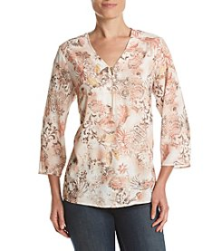Alfred Dunner® Roll Tab Floral Tunic Woven Top