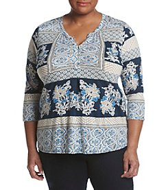Lucky Brand® Plus Size Printed Knit Top