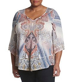 Oneworld® Plus Size Mixed Print Lace Up Top