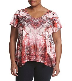 Oneworld® Plus Size Flutter Sleeve Top