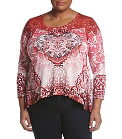 Oneworld® Plus Size Scoop Neck Jewel Top