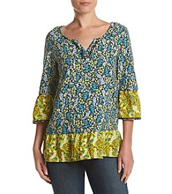 Relativity® Floral Peplum Peasant Top
