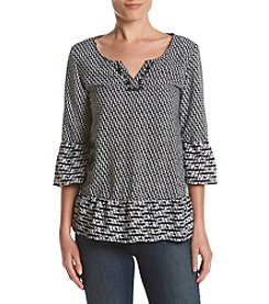 Relativity® Geo Border Peplum Peasant Top