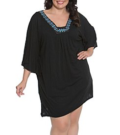 Dotti Plus Size Flutter Bling Tunic Cover Up