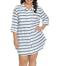 Dotti Plus Size Tulum Stripe Shirt Dress