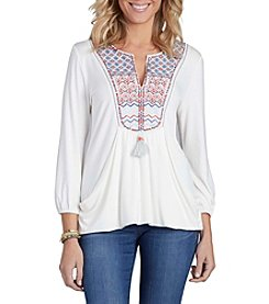 Democracy Embroidered Knit Top
