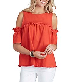 Democracy Ruffle Yoke Cold-Shoulder Top
