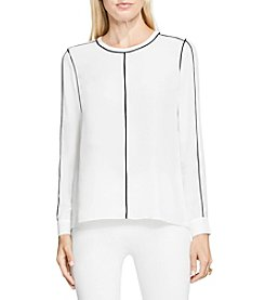 Vince Camuto® Button Front Blouse With Contrast Piping