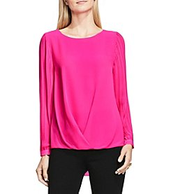 Vince Camuto Pleated Sleeve Fold Over Blouse