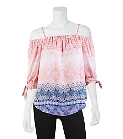 A. Byer Border Off-Shoulder Top
