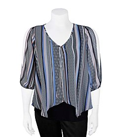 A. Byer Plus Size Sheer Overlay Top