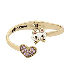 Betsey Johnson® Cat & Pavé Heart Bypass Hinged Bangle Bracelet