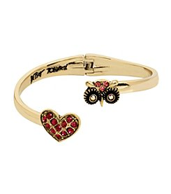 Betsey Johnson® Owl & Pave Heart Bypass Hinged Bangle Bracelet