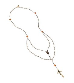 Betsey Johnson® Cross & Stone Rosary Long Necklace