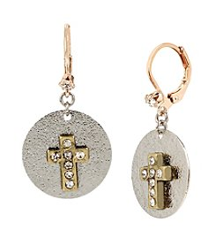 Betsey Johnson® Crystal Cross Round Drop Earrings