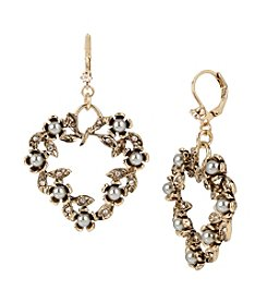 Betsey Johnson® Heart & Bead Drop Earrings