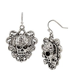 Betsey Johnson® Pave Skull Drop Earrings