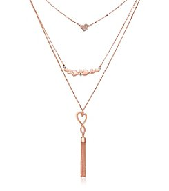GUESS Three Row Heart Tassel Necklace