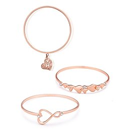 GUESS 3 Pc. Charm Heart Bangle Set