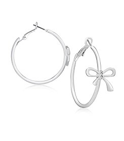 GUESS® Bow Silvertone Hoop Earrings