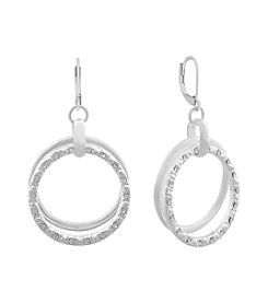 Gloria Vanderbilt® Silvertone Sparkles Double Hoop Earrings