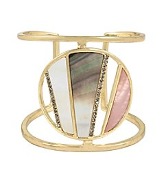 Kenneth Cole® Pavé Mixed Shell Geometric Disc Cuff Bracelet