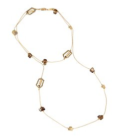 Kenneth Cole® Pave Geometric Link & Shell Chip Bead Long Station Necklace