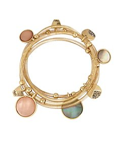 Kenneth Cole® Mixed Shell Circle Charm Stretch Bracelet Set