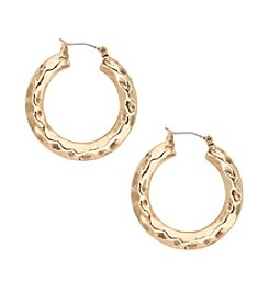 Nine West Vintage America Collection Hammered Hoop Earrings