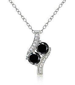 Designs by FMC Silver-Plated Black Spinel & White Topaz Pendant Necklace