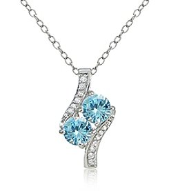 Designs by FMC Silver-Plated Blue Topaz & White Topaz Pendant Necklace