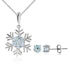 Designs by FMC Silver-Plated Blue Topaz Snowflake Pendant Necklace and Round Stud Earrings Set