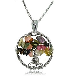 Designs by FMC Silver-Plated Tourmaline Tree of Life Pendant Necklace