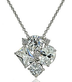 Designs by FMC Silver-Plated Cubic Zirconia Cluster Slide Pendant Necklace