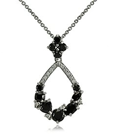 Designs by FMC Silver-Plated Clear & Black Cubic Zirconia Open Teardrop Pendant Necklace