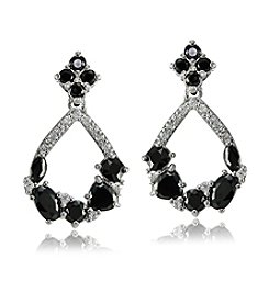 Designs by FMC Silver-Plated Clear & Black Cubic Zirconia Open Teardrop Drop Earrings