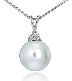 Designs by FMC Sterling Silver Cubic Zirconia Cluster & Classic Pearl Pendant Necklace