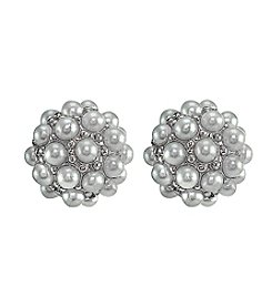Designs by FMC Sterling Silver Pearl Cluster Stud Earrings