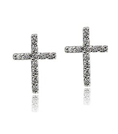 Designs by FMC Sterling Silver Cubic Zirconia Stud Cross Earrings