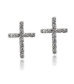 Designs by FMC Sterling Silver Cubic Zirconia Stud Cross Earrings