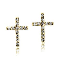 Designs by FMC 18K Gold-Plated Over Sterling Silver Cubic Zirconia Stud Cross Earrings