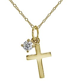 Designs by FMC 18K Gold-Plated Over Sterling Silver Cross Pendant Necklace with Cubic Zirconia Solitaire Charm